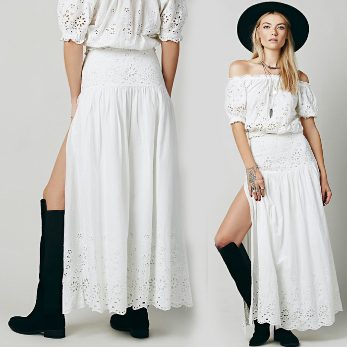 vestidos hippies, mujer con vestido blanco de dos piezas con encaje, hombros caídos, mangas anchas cortas, sombrero negro