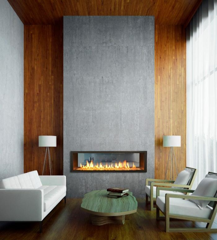 decoración nórdica, salón con techo alto, combinacion de colores, gris y marrón, chimenea decorativa, pared de madera, ventana grande