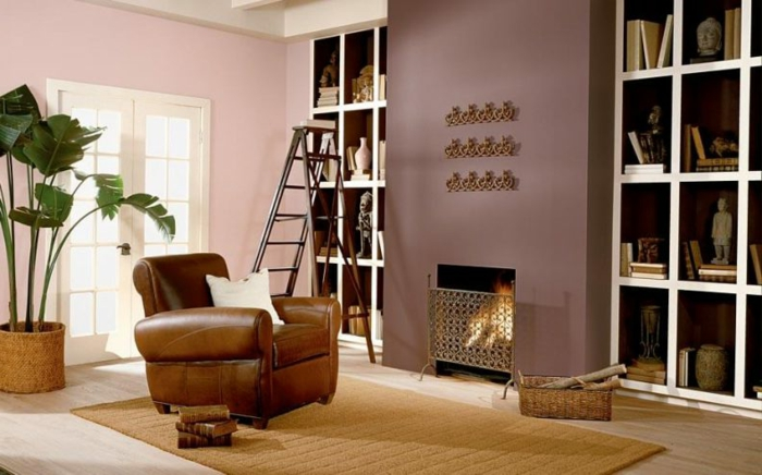 salon con chimenea, combinacion de colores, paredes en rosado y bizantino, palmera grande, tapete y sillón de piel
