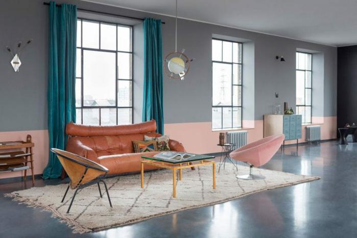1001 ideas sobre colores para salones y c mo pintar la for Cortinas para paredes grises