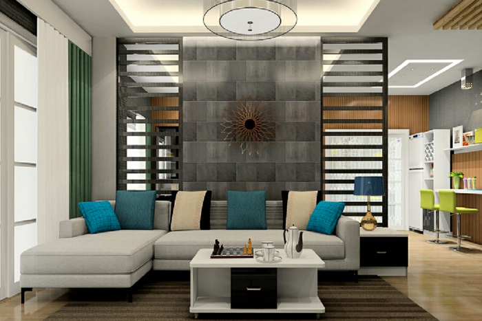 biombos separadores, grande salón moderno en colores naturales con detalles en azul saturado, separador de ambientes con ornamento