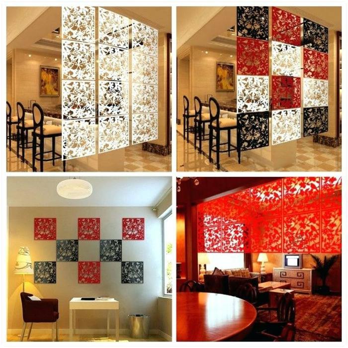 biombos separadores, separadores de ambientes en blanco, negro y verde, cuadrados ornamentados con motivos florales