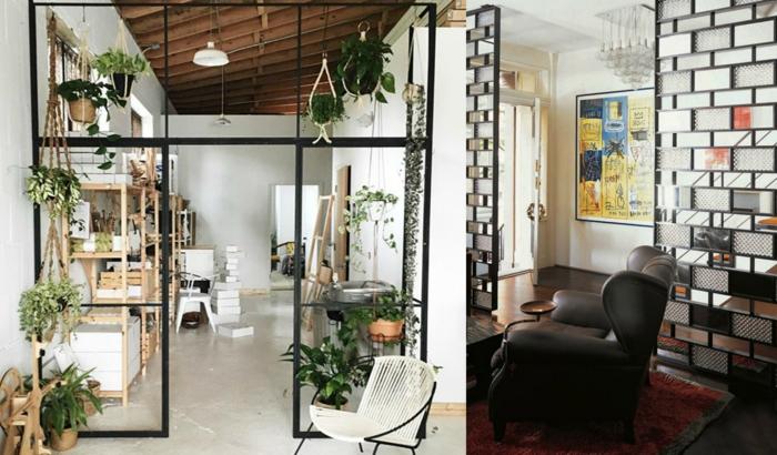 biombos separadores, propuestas encantadoras de separadores hechos de metal, plantas verdes decorativos