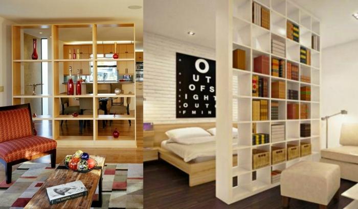1001 ideas de separadores de ambientes decorativos y funcionales - Estanterias separadoras de ambientes ...