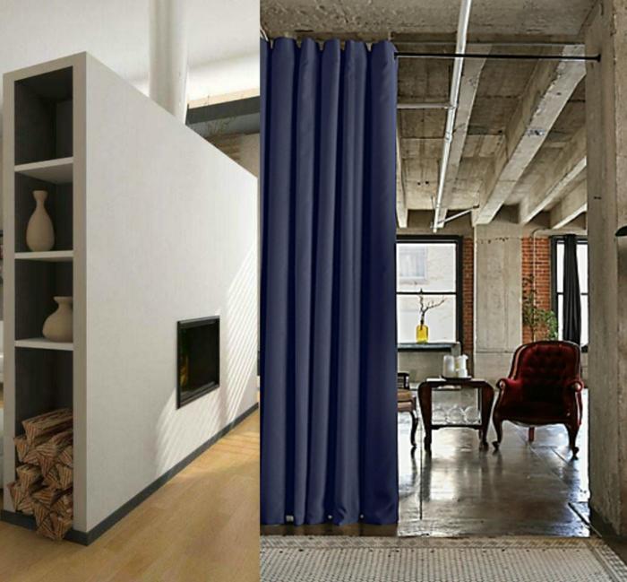 biombos separadores, dos propuestas refinadas de separadores de espacios, muro en gris con chimenea empotrada y cortinas en azul