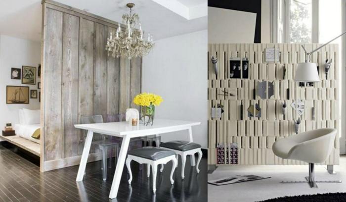 separar ambientes, propuestas de interiores con separadores de ambientes en blanco y gris, ideas con madera