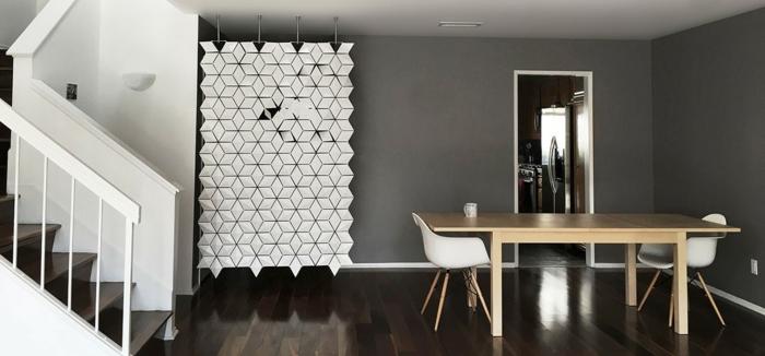 separar ambientes, espacio moderno en estilo minimalista, separador de ambientes original colgante, paredes en gris y suelo de madera