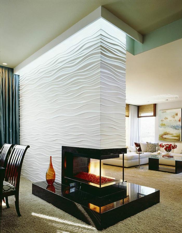 separar ambientes, muero divisor de espacios, muy bien iluminado, chimenea empotrada, suelo de moqueta