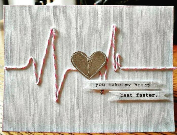 tarjeta hecha a mano, mensaje de amor, tu aceleras mi pulso, corazón e imitación de cardiograma, que regalar a tu novio, manualidades sencillas