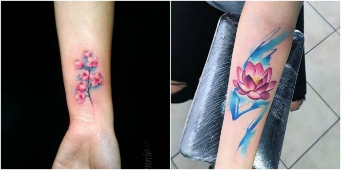 tatuaje muñeca, dos ejemplos de tatuaje en rosado y azul en la muñeca, flor de cerezo, flor de loto abierta