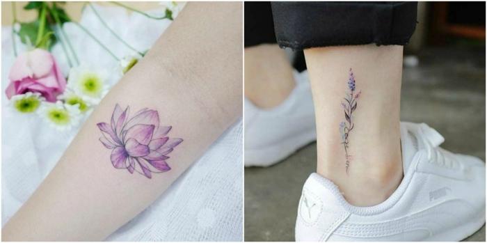 tatuajes flores, dos ejemplos de tatuaje pequeño, loto morado en el antebrazo, lavanda en el tobillo, tatuajes para mujeres