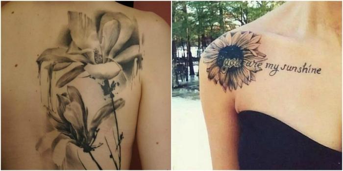 tatuaje acuarela, dos ideas de tatuajes de flores en blanco y negro para mujer, girasol con frase en el hombro, lirio de acuarela en la espalda