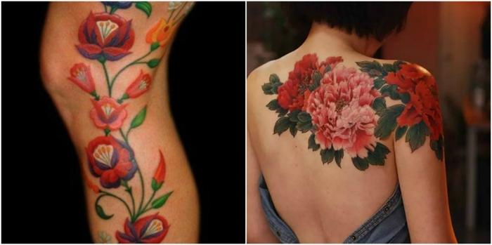 tatuaje acuarela, dos ejemplos de tatuajes femeninos en tonos rojos, tatuaje en la pierna, tatuaje grande con crisantemos en la espalda
