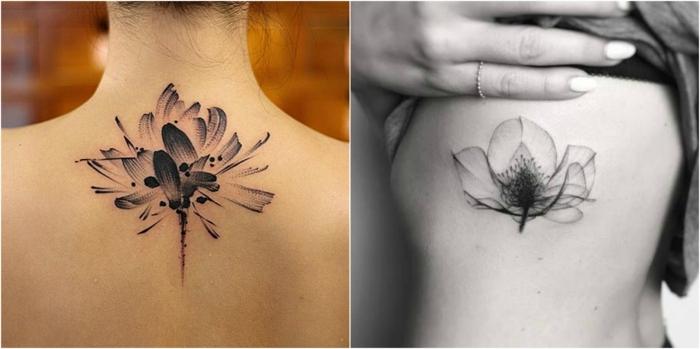 tatuaje espalda, dos propuestas para tatuaje de espalda y torso para mujeres, flores en blanco y negro