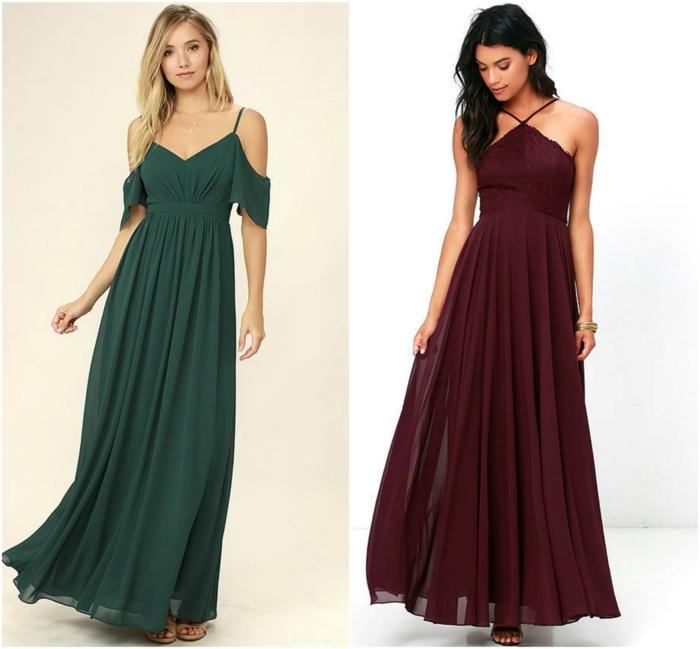 vestidos boda, vestidos para amdrina aptos para boda de día, vestidos largos con tul, vestido verde con hombros caidos, vestido color vino con corte halter