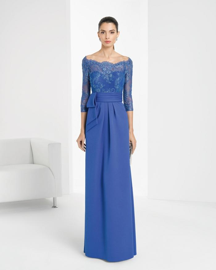 vestidos boda, vestido largo en azul royal, cinturón con lazo grande. mangas tres cuartos con encaje, escote tipo barca