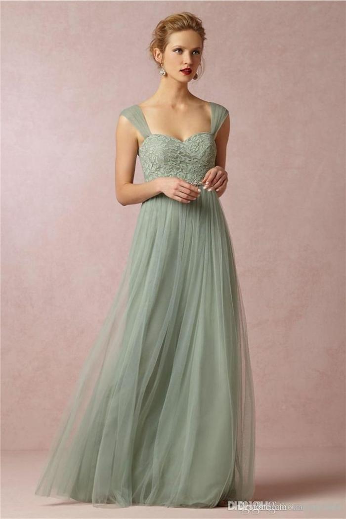 vestidos boda, vestido largo de tul para madrina, color verde pastel, escote tipo corazón, cintura imperio, aire romántico