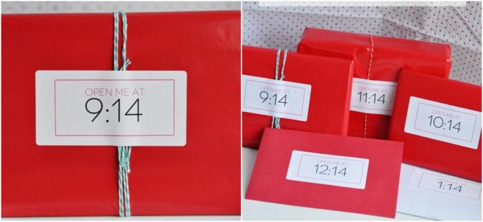 sorpresa para cada hora del diá de San Valentín, paquetes rojos con hilo azul, que regalar a tu novio, idea original de regalos