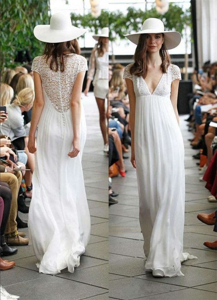 vestidos de novia ibicencos, vestido largo con cintura imperio y espalda con encaje, mangas cortas, escote forma V, sombrero grande blanco