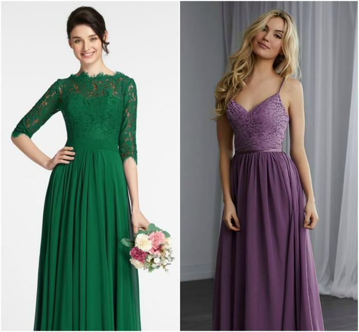 trajes de madrina, dos ideas de vestido de madrina largo, vestido verde con mangas y sin escote, vestido lila con correas y escote profundo