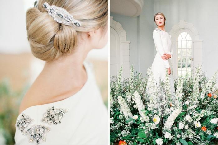 vestidos de novia modernos, vestido de corte sencillo con ornamentos en los hombros y adorno en el pelo recogido en moño