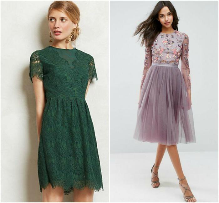 trajes de madrina, dos propuestas de vestido de madrina media pierna, vestido verde con encaje y vestido morado con piedras y tul