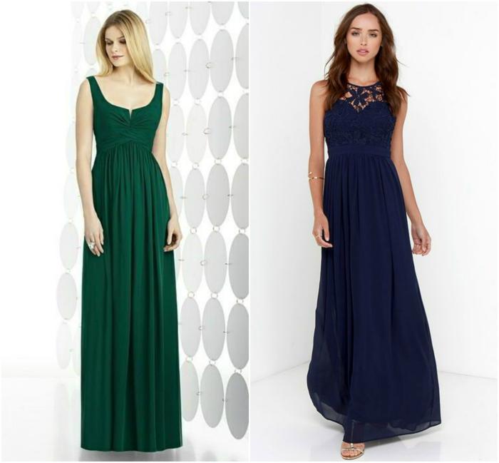 vestidos para bodas, dos propuestas de vestido largo de madrina, vestido verde con escote barca y vestido azul con escote ilusión