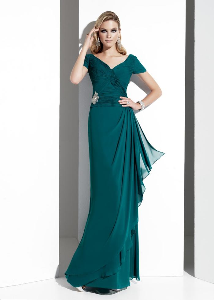 vestidos para bodas, vestido largo de madrina para boda de noche, falda asimétrica, cinturón con broche, escote cisne