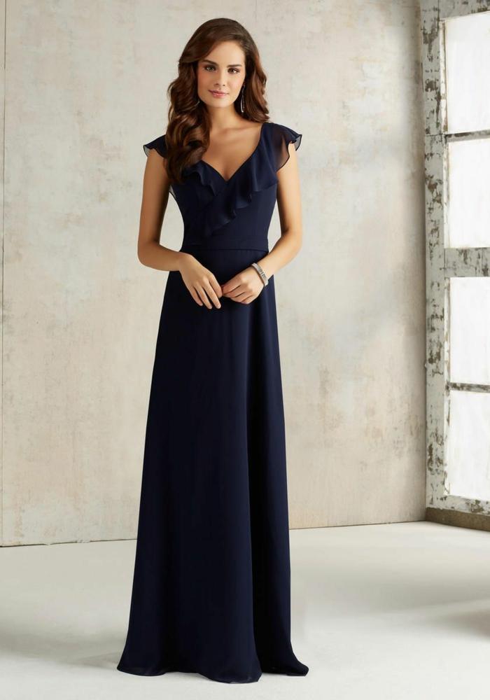 vestidos para ir de boda, vestido elegante largo para madrina, escote en forma V, talla princesa, color azul oscuro