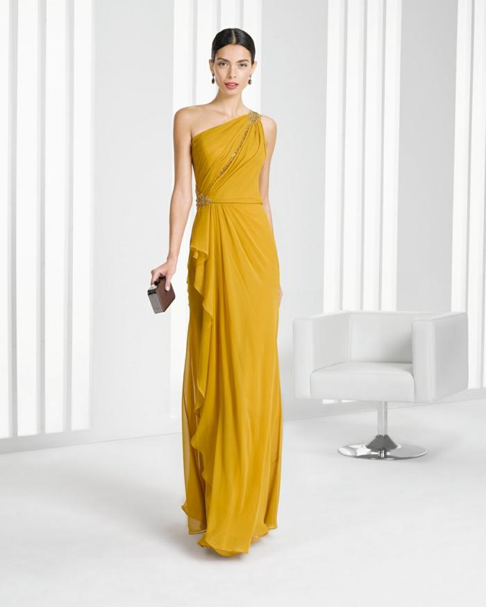 vestidos para ir de boda, vestido de madrina largo color amarillo, falda asimétrica, cintura imperio, piedras decorativas