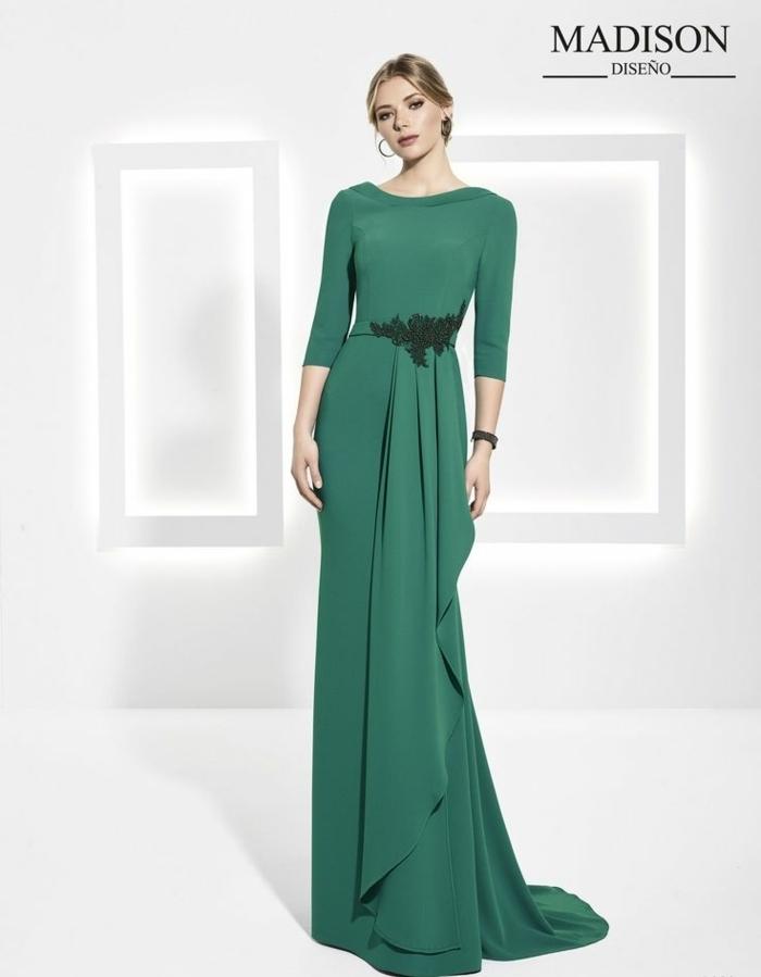 vestidos para ir de boda, vestido largo de madrina para ceremonias de noche, falda asimétrica, color verde, mangas tres cuartos, escote barca