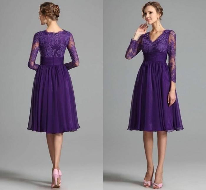 vestidos boda, vestido media pierna, morado, cinturón grande, mangas tres cuartos con encaje, escote V