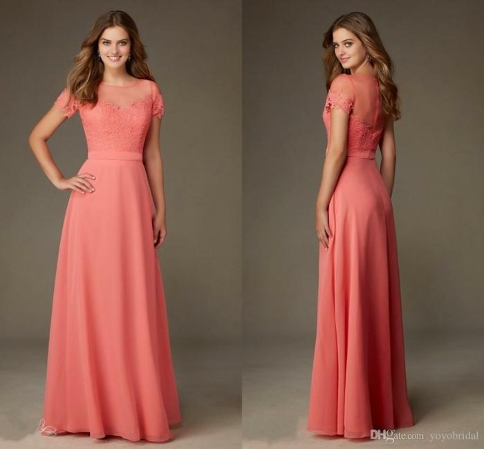 vestidos para ir de boda, vestido largo color melocoton para madrina, encaje y escote ilusión, mangas cortas, talla princesa