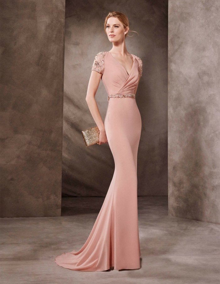 vestidos para ir de boda, vestido elegante largo para bodas de noche, color rosado pálido, escote V plegado, mangas cortas con piedras decorativas