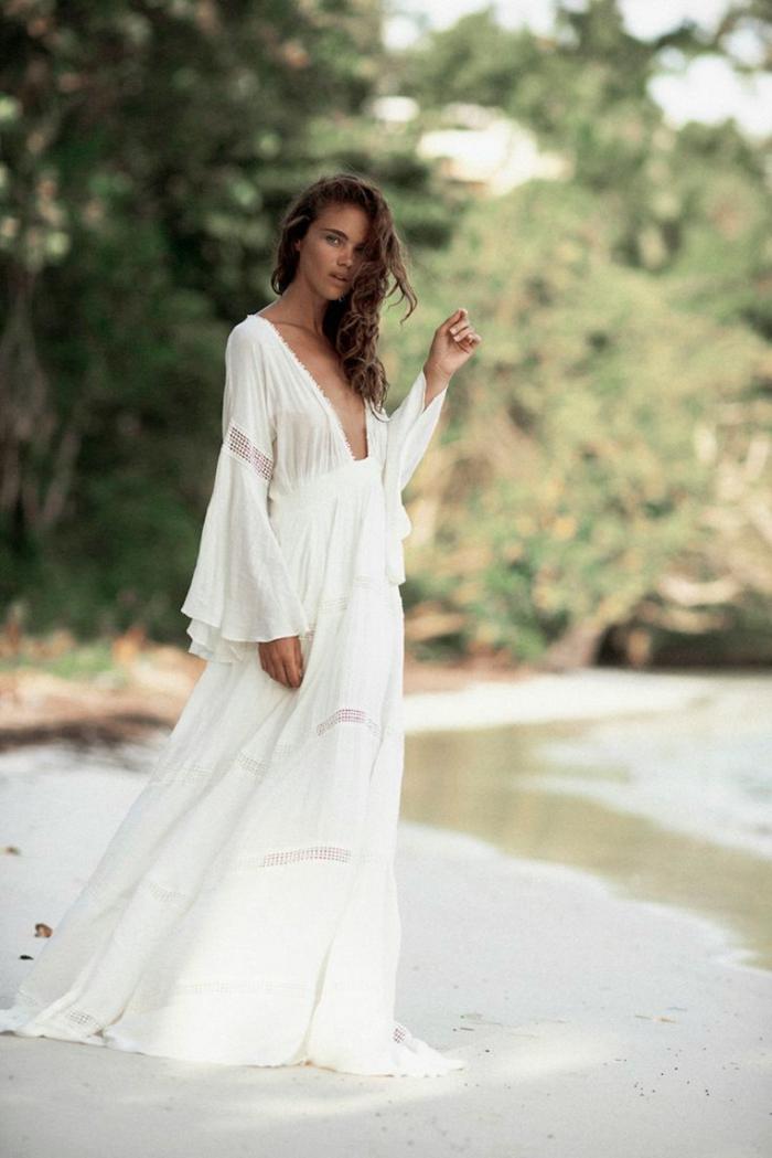 Vestido ibicenco blanco mujer