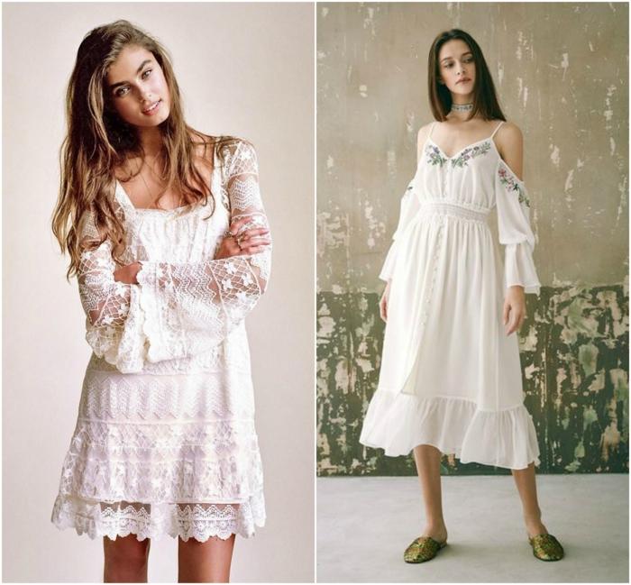 vestido ibicenco, dos ideas de vestidos blancos estilo bohemio, vestido corto con encaje y vestido media pierna con bordado y hombros caídos