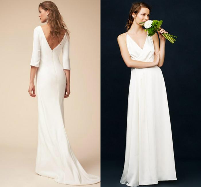vestido novia sencillo, dos propuestas de vestidos de líneas limpias y corte simple, escote en v y espalda descubierta