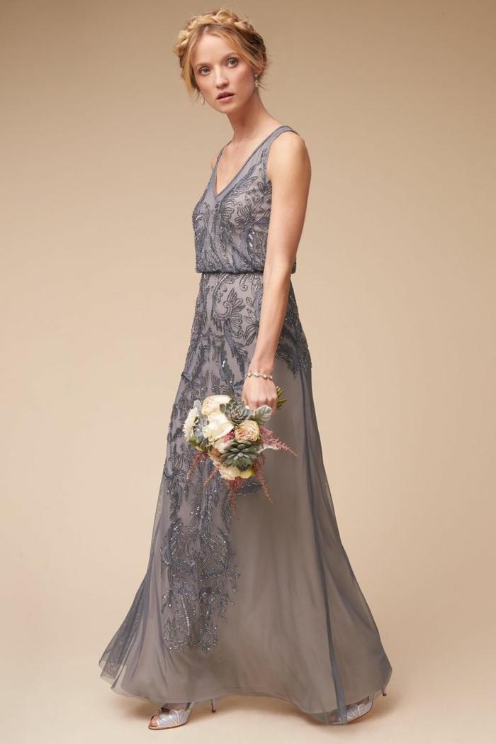 vestidos de ceremonia, vestido largo para madrina de bodas de día, color gris, piedras decorativas, escote V