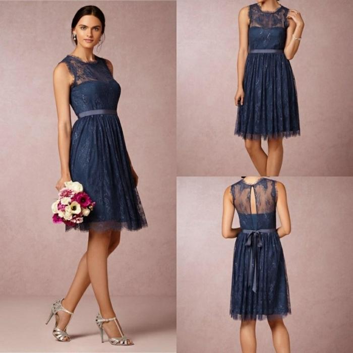 vestidos de ceremonia, vestido media pierna en azul royal, escote ilusión, encaje en la espalda, cinturón con lazo, sandalias en plateado