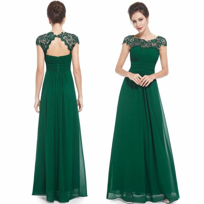 vestidos de ceremonia, vestido largo verde de madrina, espalda medio descubierta, cintura imperio, escote barca con encaje