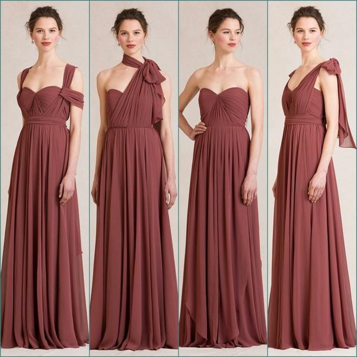vestidos de madrina, vestido largo para madrina multifuncional, cuatro maneras de llevarlo, escote de diferente tipo, color marrón, cintura imperio