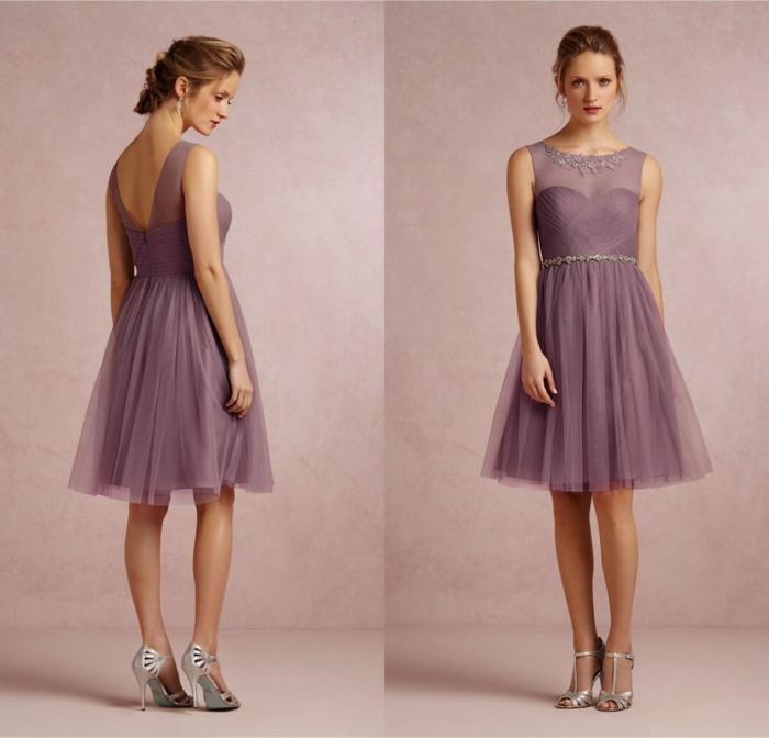 vestidos de madrina, vestido corto media pierna, falda con tul, cinturón plateado, escote ilusión, espalda medio descubierta