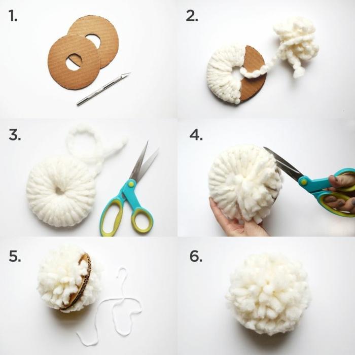 como hacer pompones de lana con tutorial completo, plantillas de cartón redondas, hilo blanco grueso y tijeras