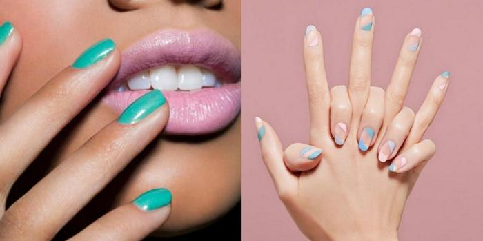 collage con fotos, propuestas para diseño de uñas moderno, uñas en gel decoradas en color verde claro, uñas largas en forma de almendra con partes de color