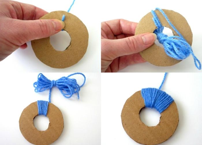 técnica fácil para hacer pompones de lana, plantilla de cartón en forma redonda e hilo azul, manualidades fáciles