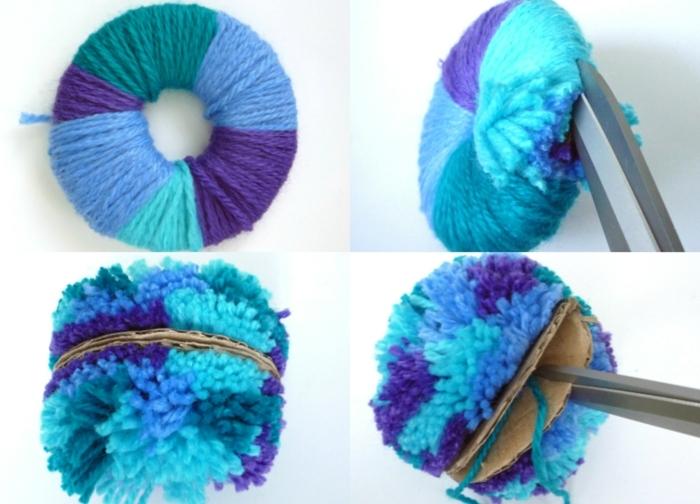 pompones de lana con hilo en diferentes colores, ideas divertidas DIY, manualidades para niños y adultos