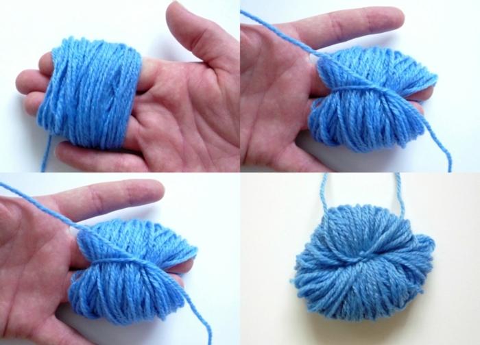 diferentes técnicas para hacer unos pompones de lana caseros, hilo color azul porcelana, manualidades con lana