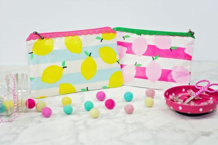 cómo hacer una bolsa de tela con cierre cremalera, manualidades faciles para hacer en casa con tutoriales detallados, tela con estampados de limones