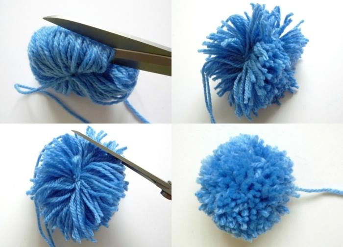 pequeñas bolas de hilo color azul, pompones de lana fáciles de hacer, técnica simple para hacer pompones paso a paso