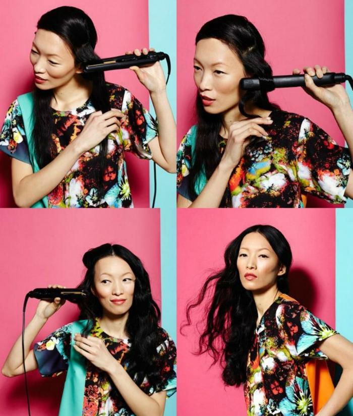 pasos para rizar el pelo con una plancha, como hacer ondas en el pelo paso a paso, mujer con larga melena ondulada en negro